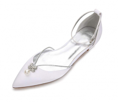 reativesugar Women Flat Dress Shoes, Pointed Toe D'Orsay Ankle Strap with Pearl Crystal Bridal Wedding Flats