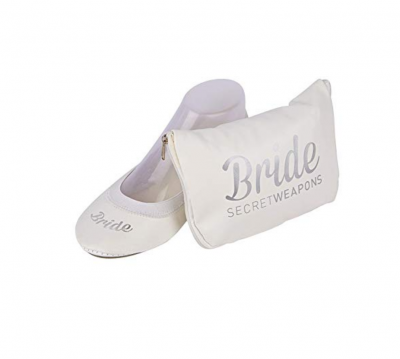 SECRET WEAPONS White Bride Fold Up Ballet Flats-White Foldable Shoes with Bride Print-Cute Purse & Tote Carry Bag!