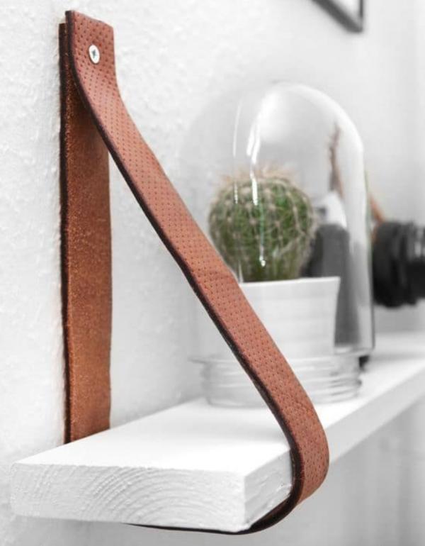Wood and leather plank diy bookshelf