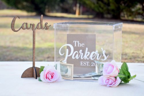 Country Barn Babe Personalized Clear Card Box with Lid - Wedding Card Box