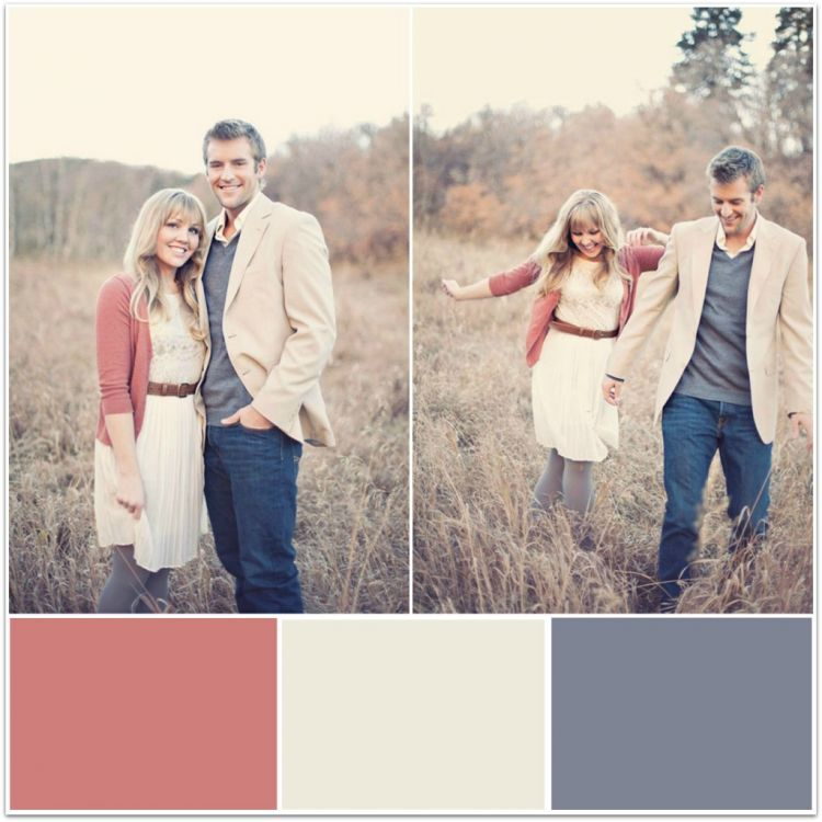 Engagement photo outfits ideas and color schemes
