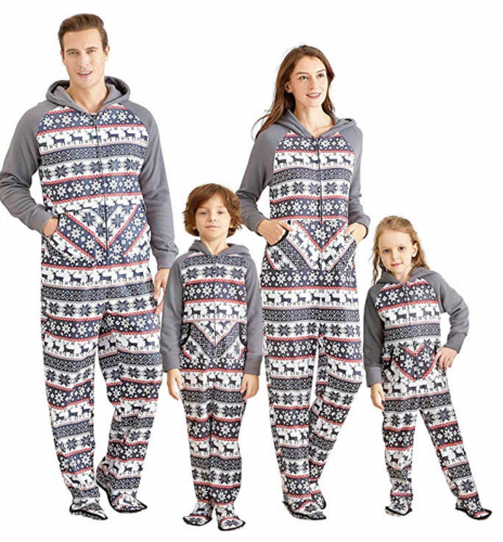 Yaffi Matching Family Footed Pajamas Hoodie Sleeper Christmas