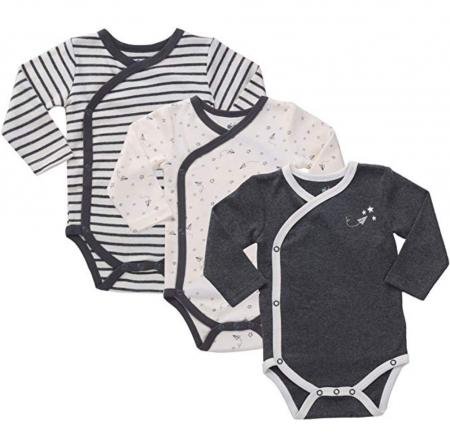 Asher & Olivia Unisex Baby Kimono Side Snap Onesies 2Pc Long Sleeve Bodysuit Set