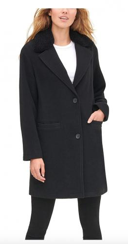 Levi's Wool Plaid Sherpa Top Coat
