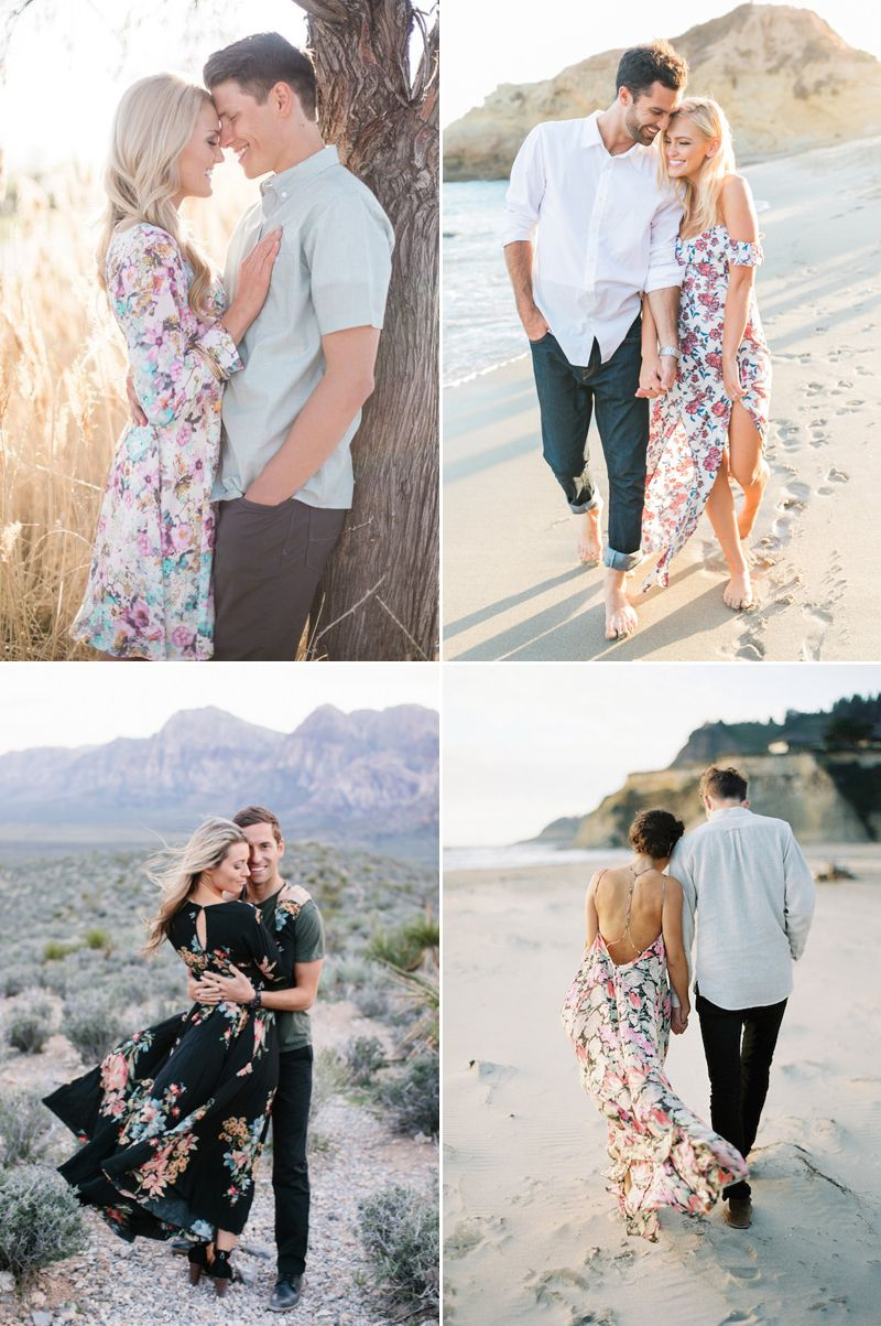 engagement photo outfits - matching colors