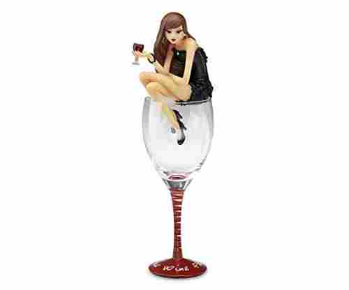 Pavilion Gift Company Hiccup Wine Glass with Wine Girl