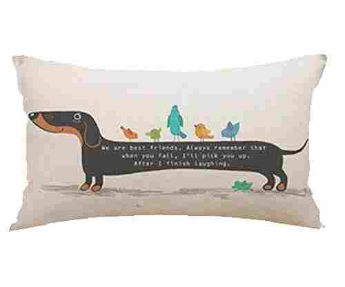 Cute Dachshund Hot Diggedy Dog Throw Pillow Cover