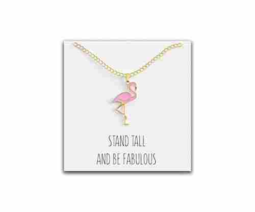 "Happy Kisses Pink Flamingo Necklace with ""Stand Tall and Be Fabulous"" Message Card"