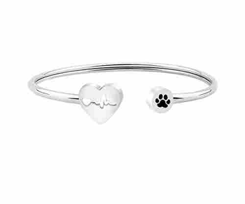 Heart Beat Dog Paw Pendant Bracelet