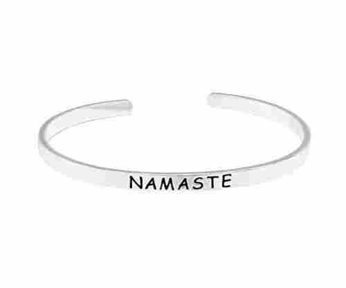 O.RIYA NAMASTE Brass Hand Stamped Bracelet