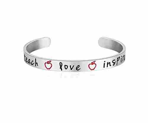 MAOFAED Teach Love Inspire  Hand Stamped Bracelet