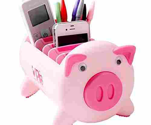 Pacii Creative Pigs Plastic Office Desktop Stationery Pencil Holder