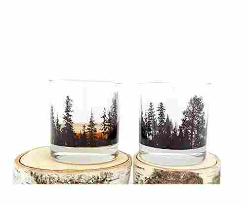 Forest Landscape Whiskey Glasses – Set of Two