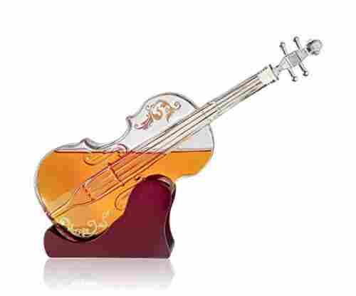 Glass Violin Decanter with Mahogany Base