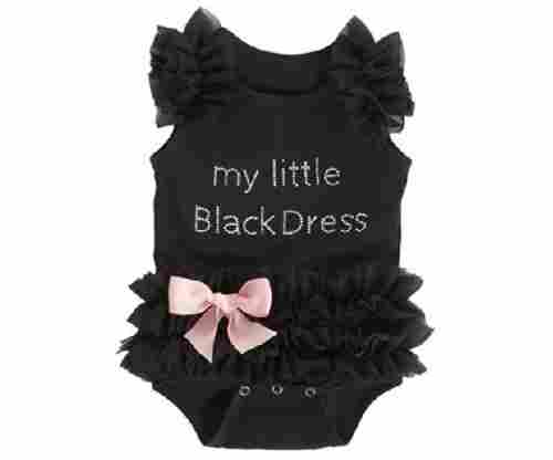 Embroidered Little Black Dress Bodysuit