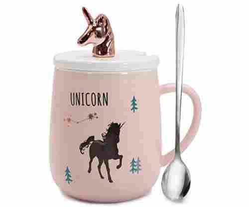 Rose Gold and Pink Unicorn Mug with Lid and Spoon