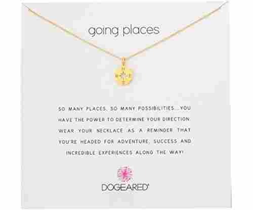 Dogeared Going Places Compass Disc Chain Necklace