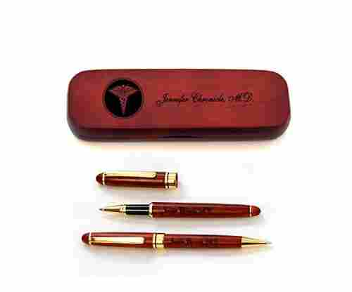 Personalized Rosewood Case and Two Pens for Doctors