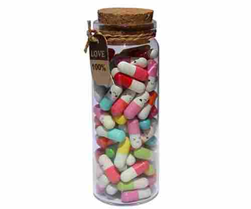 """Message in a Bottle"" Glass Jar & Pills"