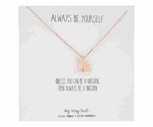 My Very Best Always Be Yourself Unicorn Necklace