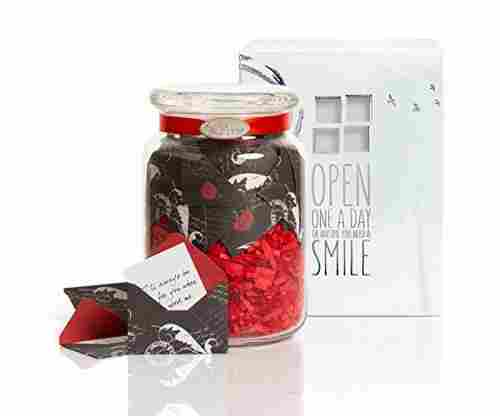 KindNotes Glass Keepsake Gift Jar with Long Distance Missing You Messages