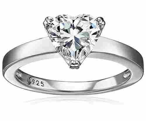 Plated Sterling Silver Swarovski Zirconia Heart Ring