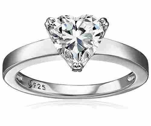 Plated Sterling Silver Swarovski Zirconia Heart Ring