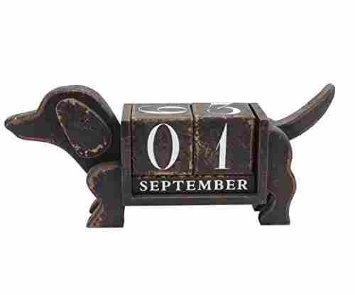 NIKKY HOME Shabby Chic Dog Shaped Desk Calendar