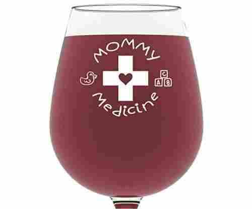 Mommy Medicine Wine Glass