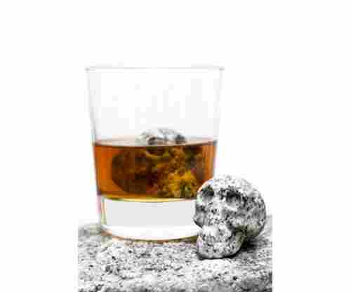 Hand-carved Set of 2 Beverage Chilling Granite Skull Whiskey Stones