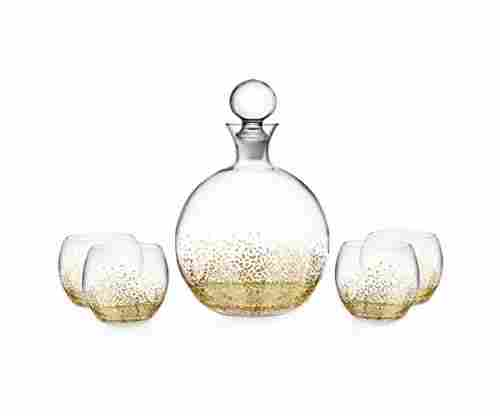 Fitz and Floyd Luster 5 Piece Decanter Set