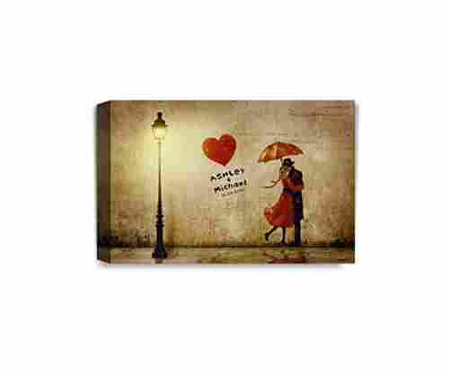 'Our First Kiss' Personalized Canvas Print Artwork
