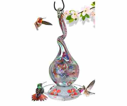Grateful Gnome Hummingbird Feeder – Handblown Glass