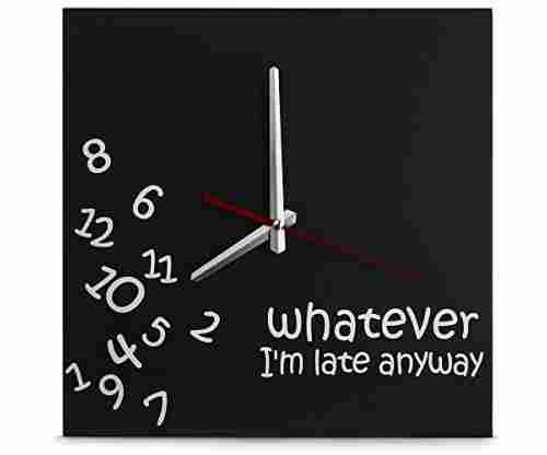 Decodyne 'Whatever I'm Late' Wall Clock