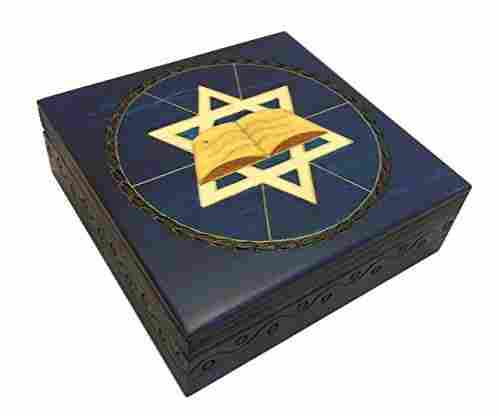 Blue Star of David Secret Jewelry Keepsake Box