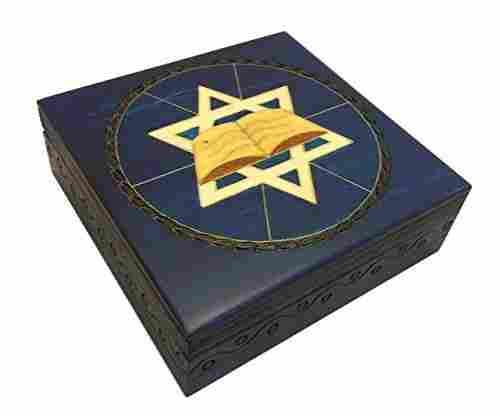 Blue Star of David Secret Jewelry Keepsake Box