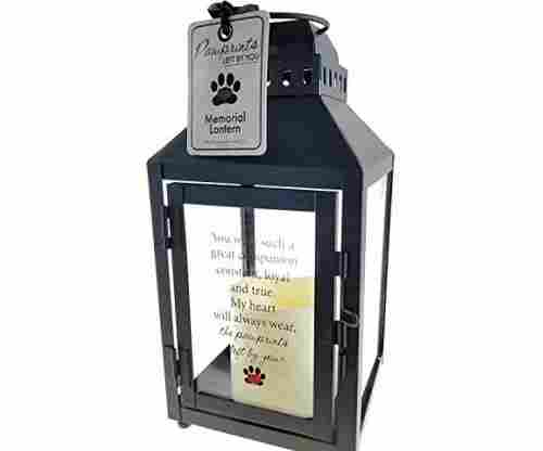 Light and Love Pawprints Left by You Memorial Lantern