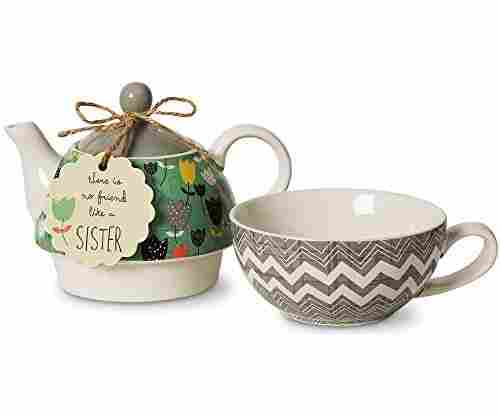 Pavilion Gift Company Bloom Sister Ceramic Tea Pot for One