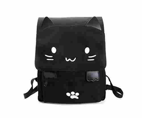 Cute Canvas Cat Print Backpack School Bag
