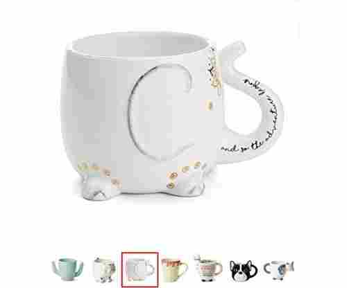Tri-Coastal Design Elephant Mug with Hand Printed Design and Saying