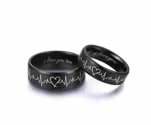 LAVUMO Heartbeat Rings for Couples – I Love You Matching Promise Rings