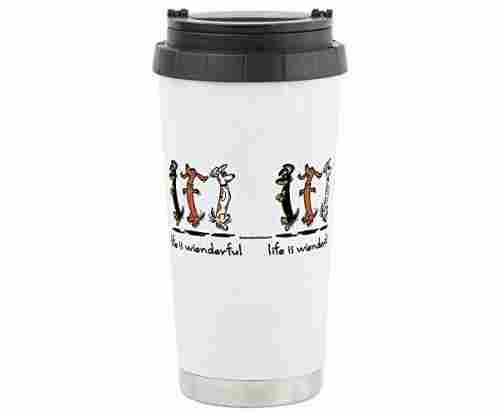 CafePress Stainless Steel Travel Mug – Dachshund Design