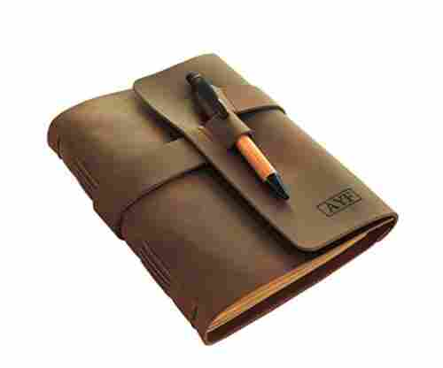 Monogrammed Leather Journal Diary with Bamboo Pen