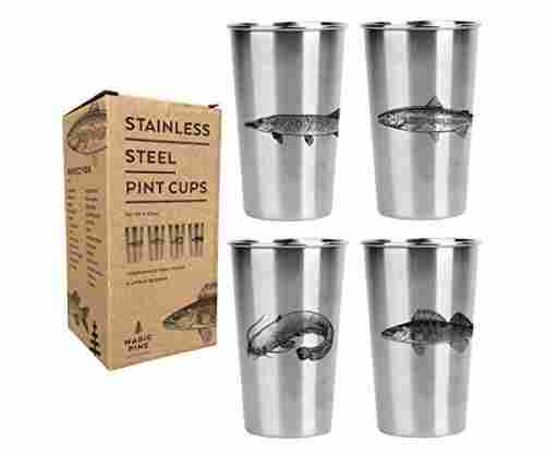 Freshwater Fish Stainless Pint Cups – Set of 4