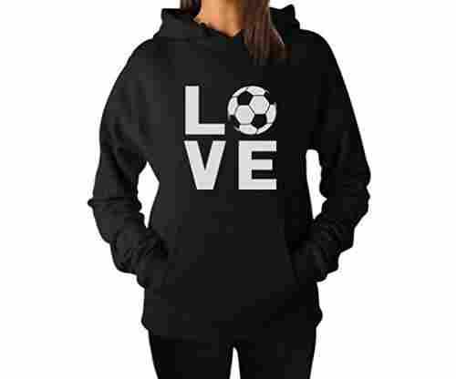 TeeStars – I Love Soccer Woman Hoodie