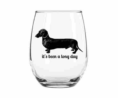 'It's Been a Long Day' Stemless Wiener Dog Wine Glass