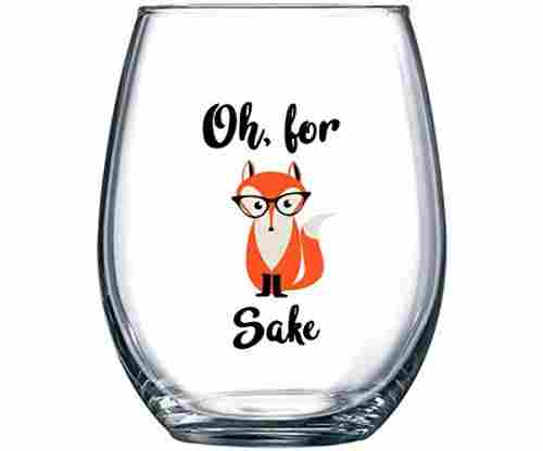 Oh, for Fox Sake – Stemless Funny Wine Glass