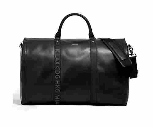 Hook & Albert Men's Black Leather Travel Bag