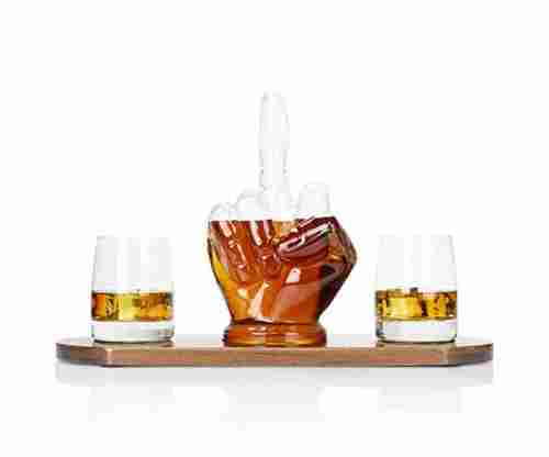 Atterstone Middle Finger 4-Piece Whiskey Decanter Bar Set