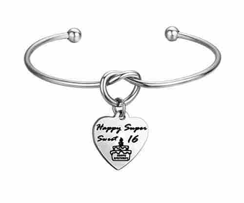 16th Bday Engraved Bracelet with Love Knot and Heart Charm